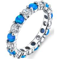Oliveti Women's Sterling Silver Blue Created Opal and Cubic Zirconia Eternity Ring Band 3.5mm