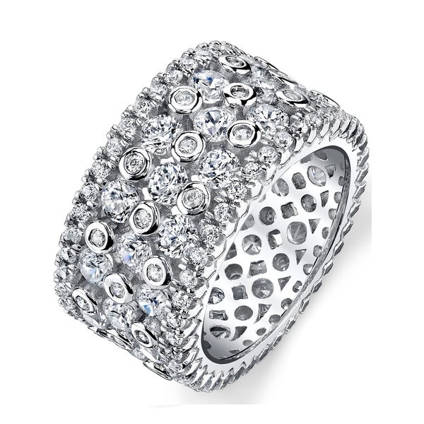 Oliveti Women  x27 s Wide Sterling Silver Ring Fashion Band with Round  Cubic Zirconia 7954d8f6a4