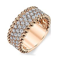 Oliveti Women's RoseGold Sterling Silver Round-Cut Cubic Zirconia Wedding Band Ring 9mm