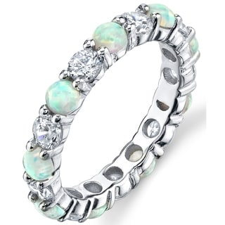 Shop Oliveti Women S Sterling Silver White Created Opal