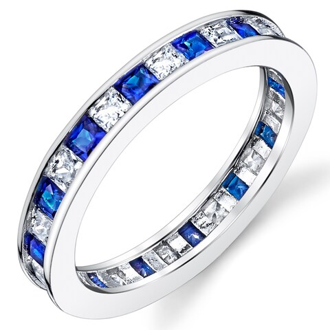 Oliveti Sterling Silver Eternity Wedding Band Ring with Simulated Sapphire Princess Cubic Zirconia