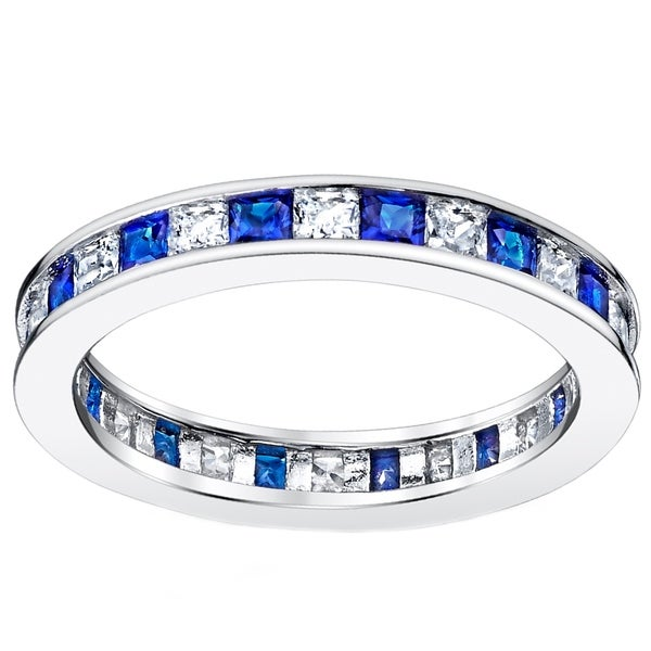 Simulated Sapphire Oval Clear Cluster Cubic Zirconia Flower Ring Rhodium Plated Sterling Silver