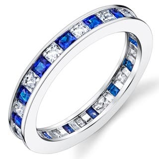 Oliveti Sterling Silver Eternity Wedding Band Ring with Simulated Sapphire Princess Cubic Zirconia|https://ak1.ostkcdn.com/images/products/17569870/P23790605.jpg?impolicy=medium