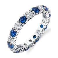 Oliveti Sterling Silver Round Simulated Sapphire and Clear Cubic Zirconia Eternity Ring Wedding Band