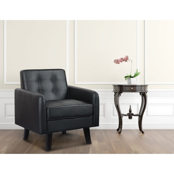 Modern Tufted Fuax Leather Accent Chair