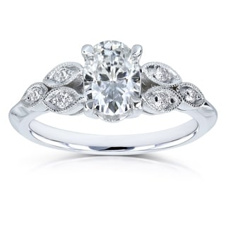 Annello by Kobelli 14k White Gold 1ct TGW Vintage Oval Cut Moissanite (HI) Engagement Ring with Diamond Accents