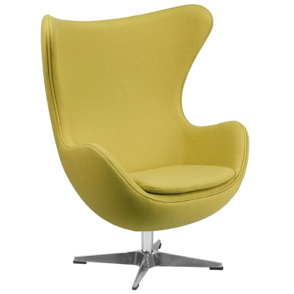 Retro Style Curved Wing Design Citron Yellow Wool Fabric Upholstered Swivel Accent Chair