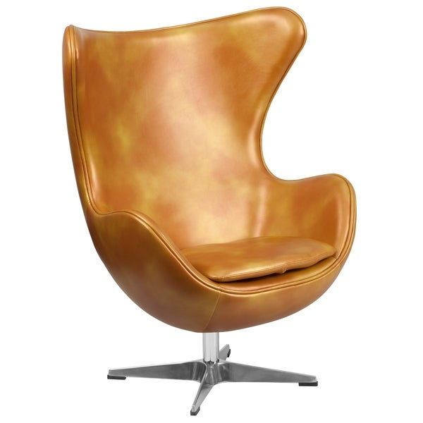 Retro Style Curved Wing Design Gold Leather Upholstered Swivel Accent Chair