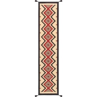 "Geometric Collection Hand-Woven Beige Wool Runner (2' 7"" X 12' 0"")"