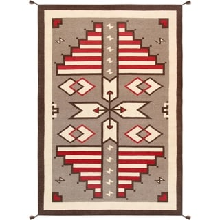 "Pasargad Geometric Collection Hand-Woven Wool Rug (6' 0"" X 9' 0"")"