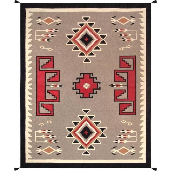 "Multi Hand-Woven Geometric Wool Rug (7' 8"" X 9'11"")"