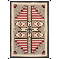 "Geometric Multi Hand-Woven Wool Area Rug (6' 0"" X 8'11"")"