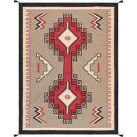 """Multi Hand-Woven Geometric Lamb's Wool Area Rug (8'10"""" X 11'10"""")"""