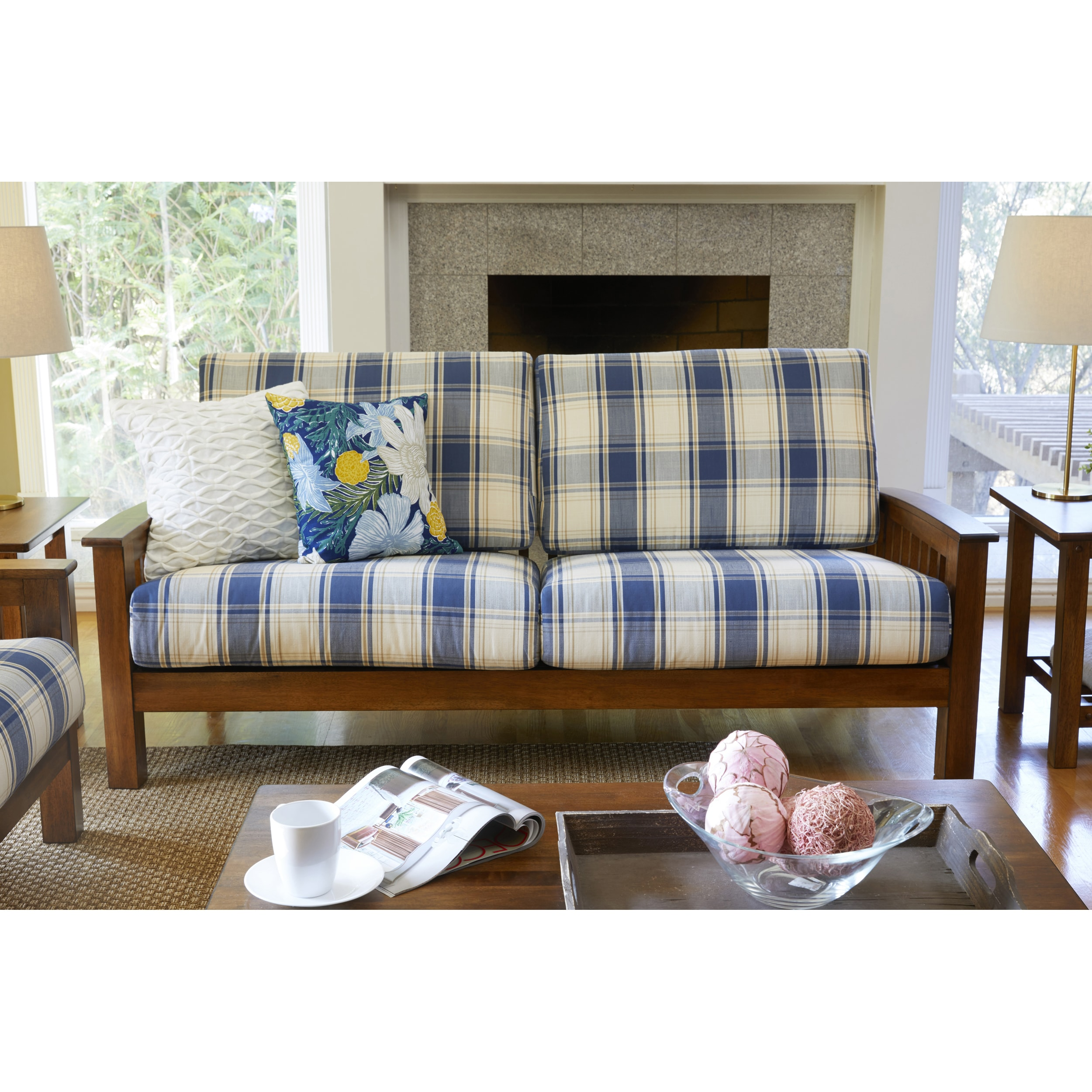 Handy Living Omaha Blue Plaid Mission Style Sofa with Exposed Wood Frame