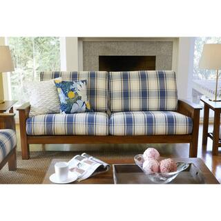 Plaid Living Room Furniture. Handy Living Omaha Blue Plaid Mission Style Sofa with Exposed Wood Frame Room Furniture For Less  Overstock com
