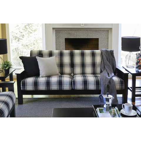 The Gray Barn Mercy Brown/ Black Plaid Mission-style Sofa with Exposed Wood Frame