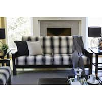 Havenside Home Mattapoisette Brown/ Black Plaid Mission-style Sofa with Exposed Wood Frame