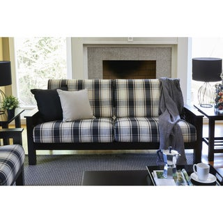 Handy Living Omaha Brown/Black Plaid Mission Style Sofa with Exposed Wood Frame
