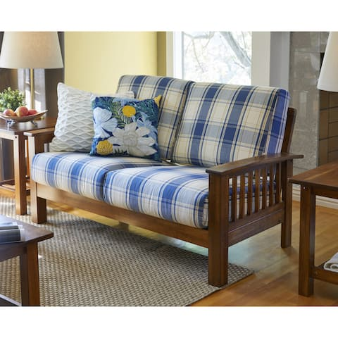 The Gray Barn Mercy Blue Plaid Mission-style Loveseat with Exposed Wood Frame