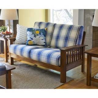 Handy Living Omaha Blue Plaid Mission Style Loveseat with Exposed Wood Frame
