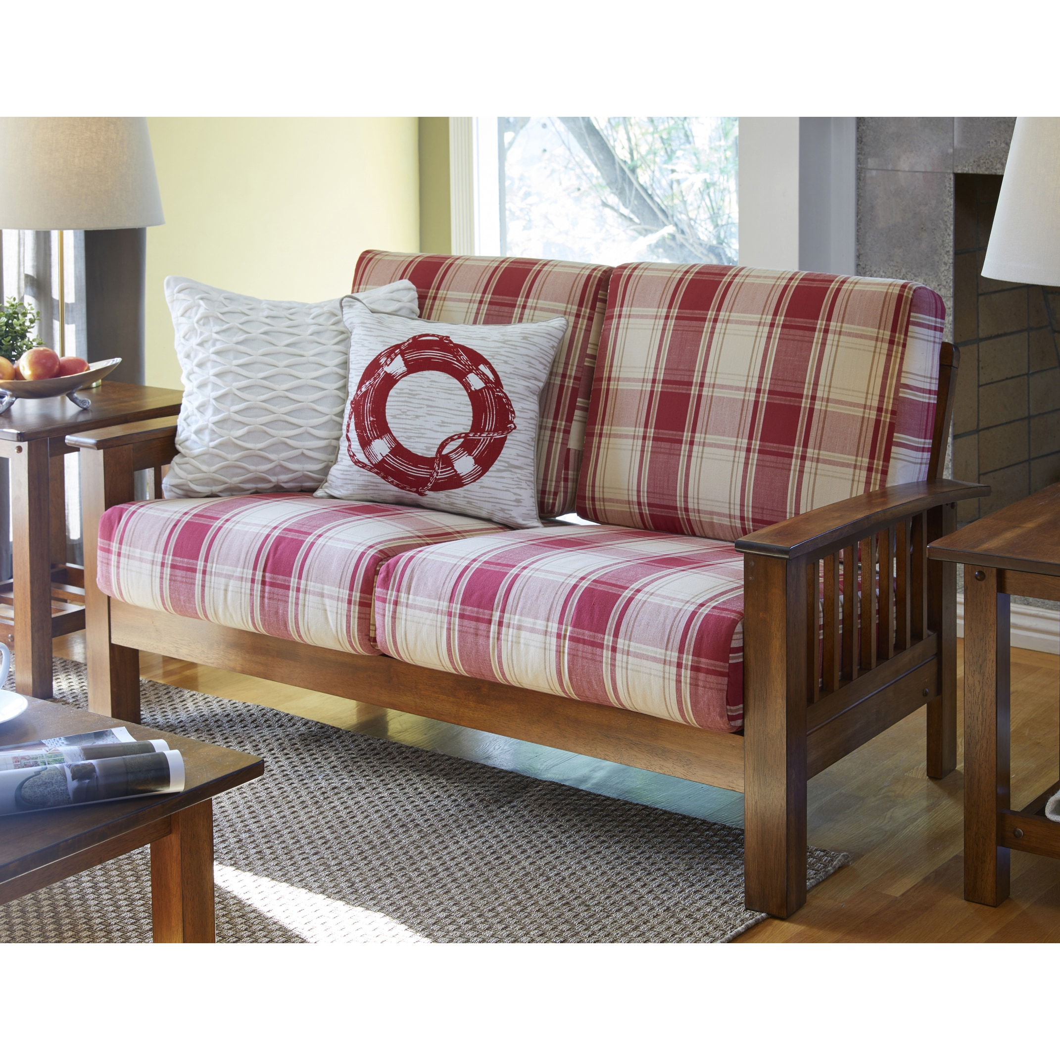handy living omaha red plaid mission style loveseat with exposed wood frame - Wood Frame Loveseat