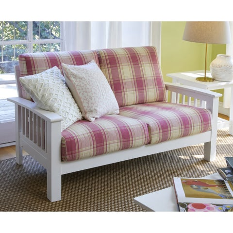 Havenside Home Mattapoisette Pink Plaid Mission-style Loveseat with Exposed Wood Frame