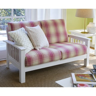 Handy Living Omaha Pink Plaid Mission Style Loveseat with Exposed Wood Frame