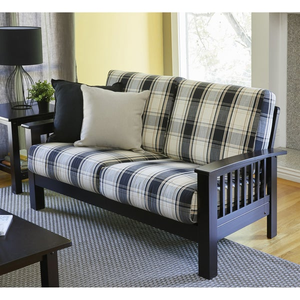 handy living omaha brownblack plaid mission style loveseat with exposed wood frame