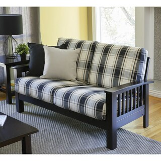 Handy Living Omaha Brown/Black Plaid Mission Style Loveseat with Exposed Wood Frame
