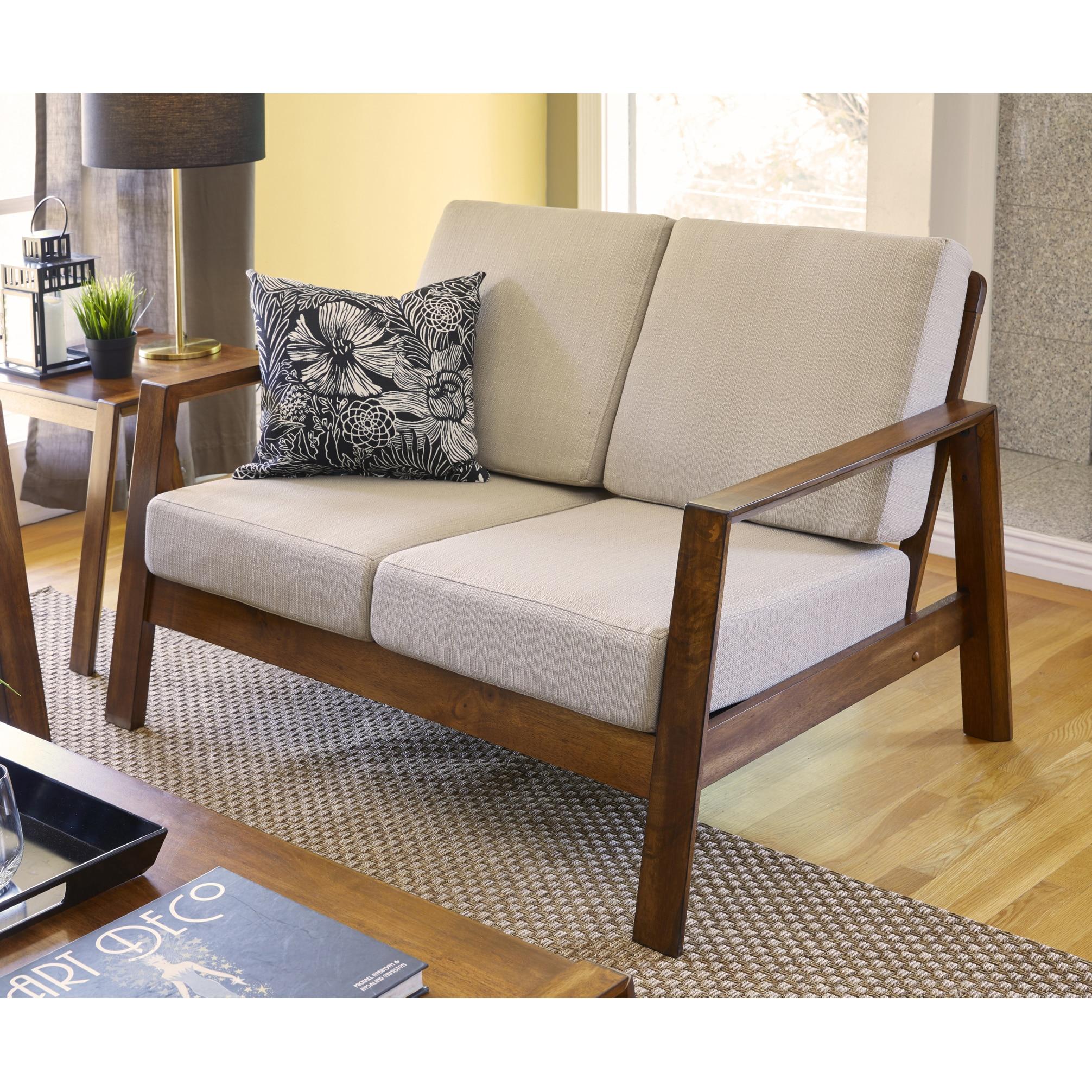 Handy Living Columbus Mid Century Modern Barley Tan Linen Loveseat with Exposed Wood Frame