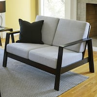 Handy Living Columbus Mid Century Modern Dove Grey Linen Loveseat with Exposed Wood Frame