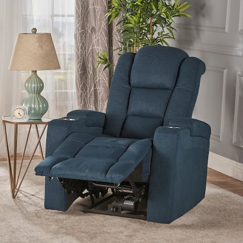 Emersyn Fabric Power Recliner with Arm Storage & USB Cord by Christopher Knight Home