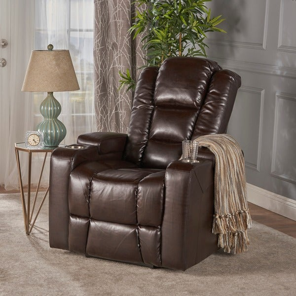 Emersyn Faux PU Leather Power Recliner With Arm Storage U0026amp; USB Cord By  Christopher Knight
