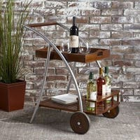 Clover Farmhouse Cottage Acacia Wood Bar Cart by Christopher Knight Home