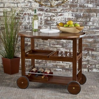 Cynthia Farmhouse Cottage Acacia Wood Bar Cart with Drop Leaf by Christopher Knight Home