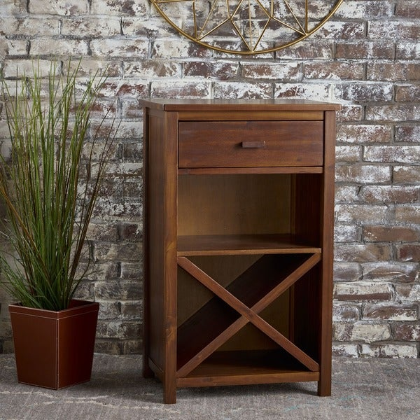 Clover Farmhouse Acacia Wood Bar Cabinet by Christopher Knight Home