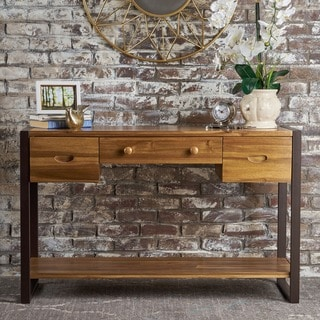 Leya Industrial Acacia Wood Console Table by Christopher Knight Home