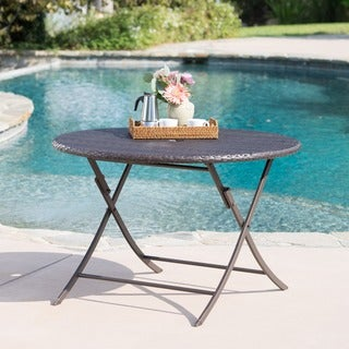 Riad Outdoor Wicker Round Foldable Dining Table with Unbrella Holeby Christopher Knight Home