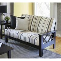 Handy Living Virginia Brown/Black Stripe X Design Loveseat with Exposed Wood Frame