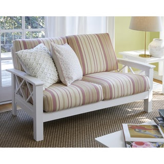 Handy Living Virginia Pink Stripe X Design Loveseat with Exposed Wood Frame