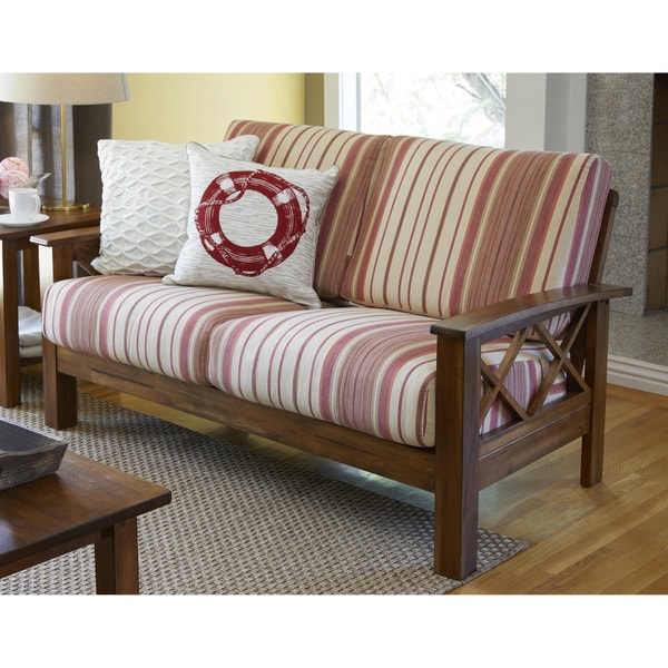 handy living virginia red stripe x design loveseat with exposed wood frame - Wood Frame Loveseat