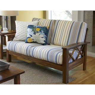 Handy Living Virginia Blue Stripe X Design Loveseat with Exposed Wood Frame