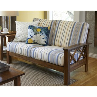 Handy Living Virginia Blue Stripe X Design Loveseat with Exposed Wood Frame