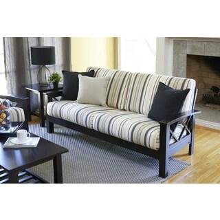 Handy Living Virginia Brown/Black Stripe X Design Sofa with Exposed Wood Frame