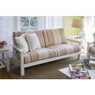 Handy Living Virginia Pink Stripe X Design Sofa with Exposed Wood Frame