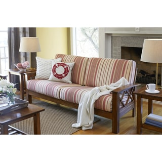 Handy Living Virginia Red Stripe X Design Sofa with Exposed Wood Frame