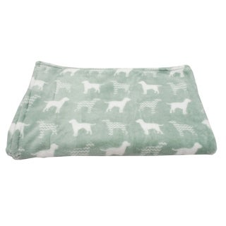 50x60 Dog Silhouette with Chevron Printed Flannel Fleece Pet Throw