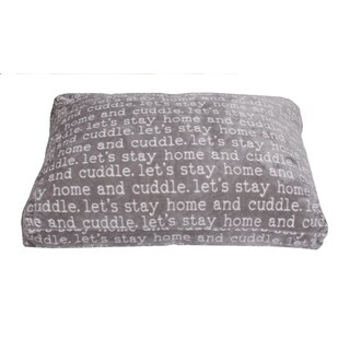 36x27 Cuddle Words Printed Flannel Fleece Dog Bed