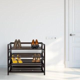 Four Shelf Espresso Folding Shoe Rack