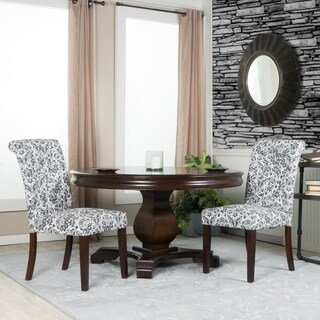 Set of Two White and Black Linen Tufted Parsons Chairs